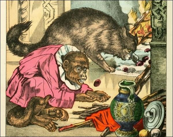 Qui accompagne le chat dans cette fable ?