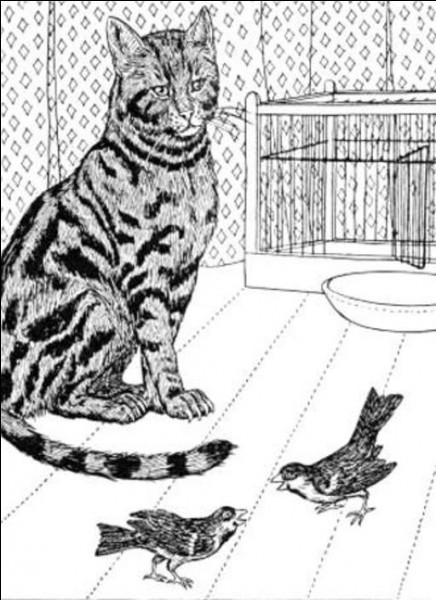 Avec qui se trouve le chat dans cette fable ?