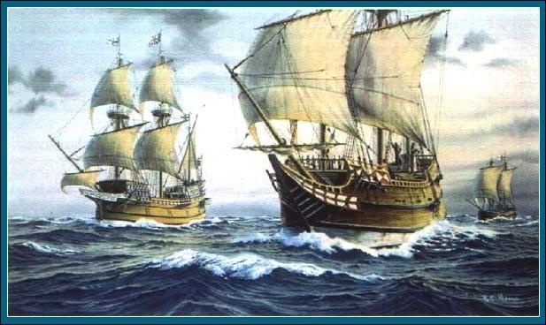 En 1492, les rois d'Espagne apportent leur soutien au navigateur Christophe Colomb, d'origine italienne. Celui-ci souhaite se rendre en bateau vers l'Extrême-Orient. Pensant être arrivé en Asie, il débarque aux Grandes Antilles. Le navigateur fera trois voyages semblables sans se douter être en Amérique. Sur quels bateaux embarquait-il ?
