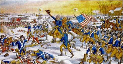 Installés au début du XVIIe siècle en Amérique du Nord, les Britanniques forment treize colonies le long de la côte Atlantique. Ils mettent en place des impôts et ne donnent aucun droit aux Américains. En 1775, ceux-ci finissent par se rebeller et, soutenus par la France, remportent une victoire décisive à Yorktown. Leur indépendance est reconnue et leur premier président est élu :