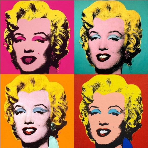 """Marilyn ( vert, jaune, rouge ) est une sérigraphie signée Andy Warhol."