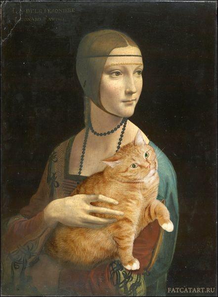 Sur cette parodie d'une toile de Leonard de Vinci, qui ce chat remplace-t-il ?