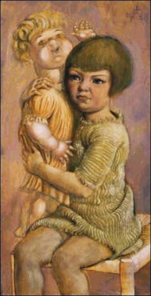 """Qui est l'auteur de la toile """"""""Enfant avec une poupée"""" ?"""
