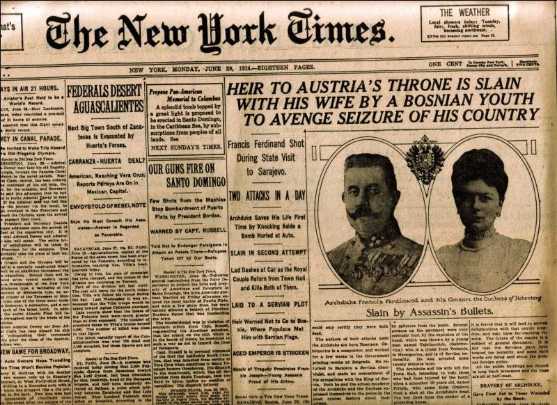 Le 28 juin 1914, l'archiduc François-Ferdinand d'Autriche-Hongrie et son épouse sont assassinés par le nationaliste serbe Gravilo Princip. Dans quelle ville de Bosnie-Herzégovine a lieu cet événement?