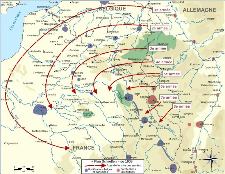 Comment s'appelle le plan allemand mis en œuvre en août 1914 qui, par l'invasion de la Belgique, devait permettre aux troupes allemandes d'envelopper et détruire l'armée française?