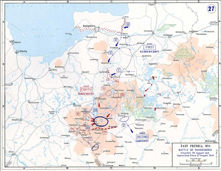 A l'Est de l'Europe, du 26 au 29 août 1914, la bataille de Tannenberg oppose l'Allemagne à