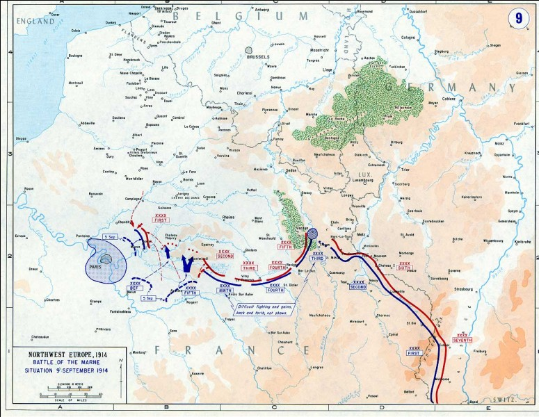Quelle célèbre bataille du 5 au 13 septembre 1914 marque l'arrêt de la progression allemande sur le territoire français?