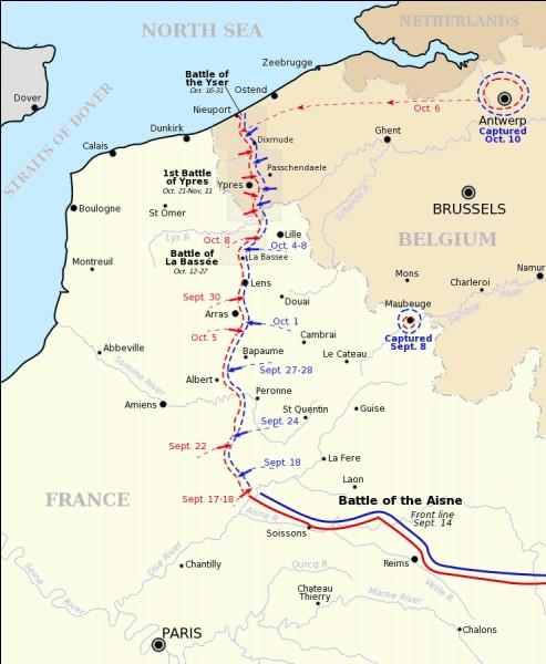 Du 18 septembre au 15 novembre 1914, l'affrontement a lieu au nord-ouest du front occidental. Les Allemands cherchent à déborder les Alliés pour atteindre la mer. C'est ce qu'on appelle