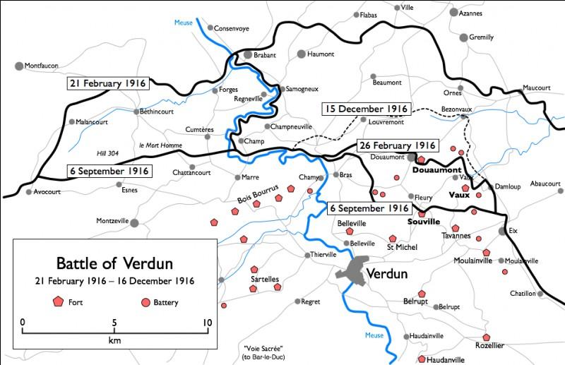 Quelle célèbre bataille débute en France le 21 février 1916 et se termine officiellement le 18 décembre de cette année?