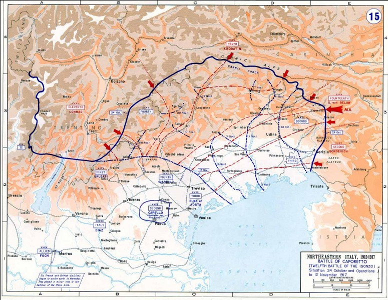Le 24 octobre 1917, a lieu la défaite italienne de