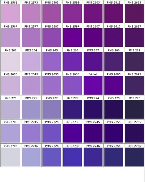 Quelle couleur n'est pas une variété de violet ?