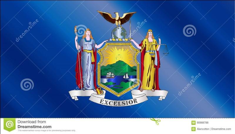 """Destination 8 : New York . Regarde bien cette image, c'est le drapeau de l'État de New York. En dessous il est écrit """"Excelsior"""". À ton avis qu'est-ce que ça signifie ?"""