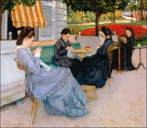 Qui a représenté ces dames et ce banc devant la maison de campagne ?
