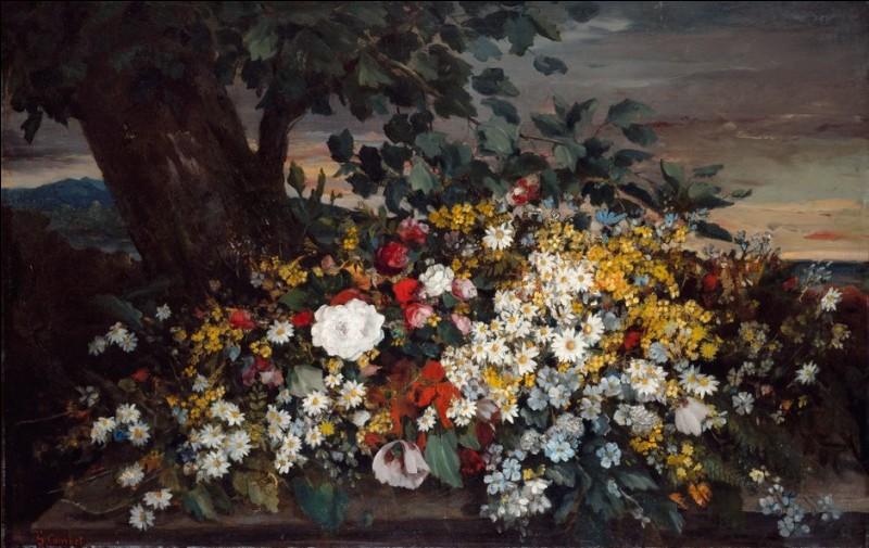 """Qui a réalisé cette toile intitulée """"Fleurs sur un banc"""" ?"""