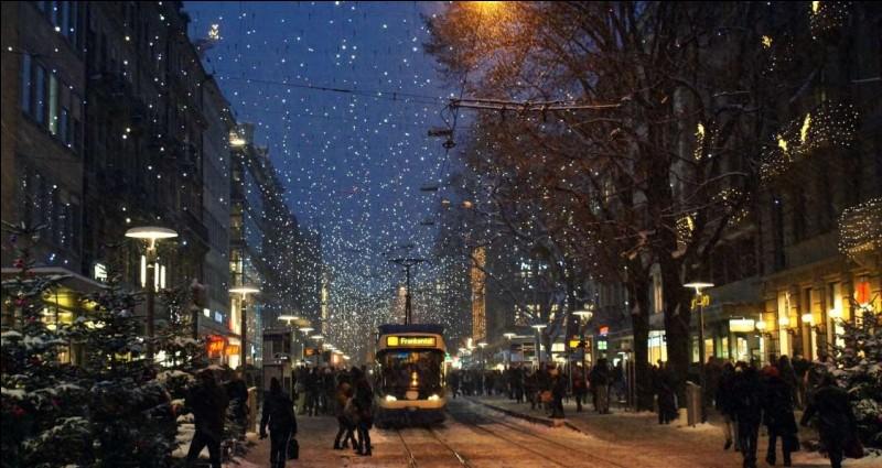Les gens magasinent pour acheter leurs cadeaux de Noël, dans des rues illuminées. Les lumières font en sorte qu'il neige dans ce tableau impressionniste. Cette photo parle d'elle-même.