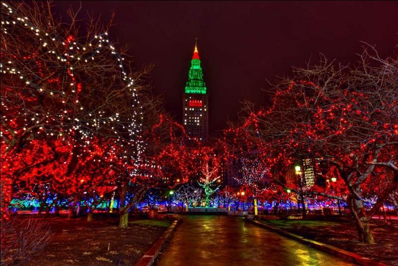 Le point de ralliement, c'est cette ''Tower City'' qu'on voit ici, la nuit, décorée d'illuminations de Noël : on peut la visiter et magasiner au grand Bazar. Elle se trouve au centre-ville et c'est là aussi que se tient le Winterfest, qui ouvre le temps des Fêtes. Quelle joie, il y a une patinoire publique, on peut y faire du traîneau à cheval : il y a des feux d'artifices et de belles lumières.