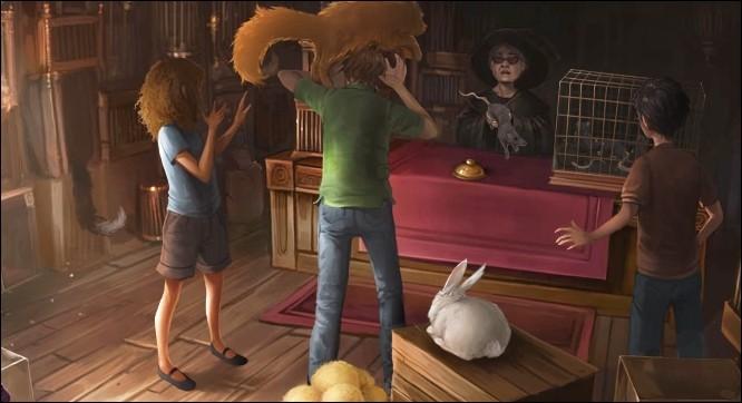 Quelle potion propose la vendeuse de la Ménagerie Magique à Ron pour aider Croûtard, qui n'est pas en forme ?