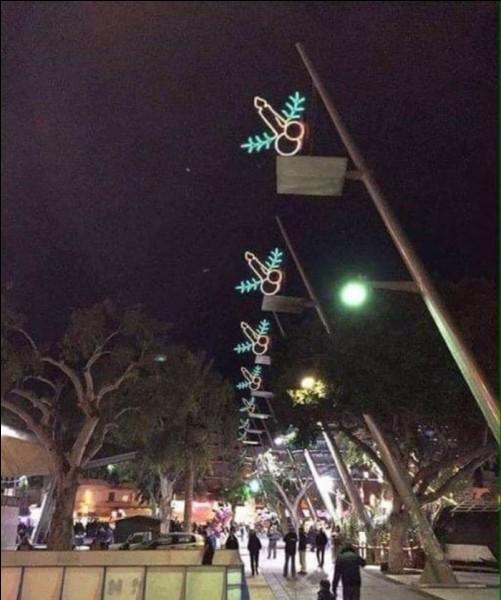 """J'ignore quelle ville a eu cette idée pour le moins malencontreuse avec ces """"zizis"""" de Noël... Que peut-on dire pour se consoler... ?"""