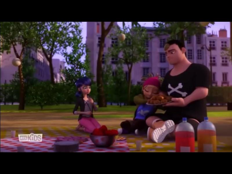Dans l'épisode «Mayura», Marinette organise un pique-nique pour toute sa classe. À côté de qui Kim est-il assis ?