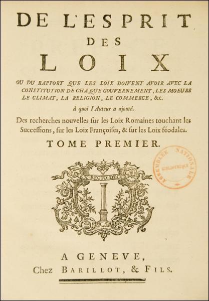 La plus grande œuvre de Montesquieu reste cependant  De l'esprit des lois  qui influencera beaucoup la rédaction d'un des textes les plus importants de l'Histoire de France, à savoir ...