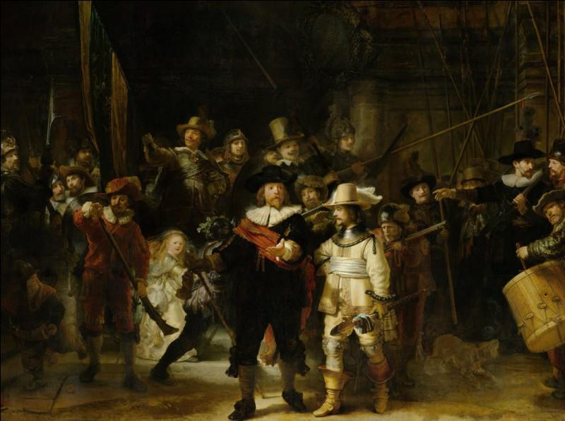 De ce tableau de Rembrandt, il ne reste qu'un dernier fragment du titre : «...... nuit » ! Retrouvez le reste !