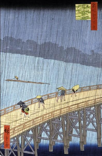 """Parmi ces peintres, lequel s'est inspiré de cette estampe nommée """"Le pont d'Ohashi et Atake sous une averse soudaine"""" d'Hiroshige Utagawa et l'a repris ?"""