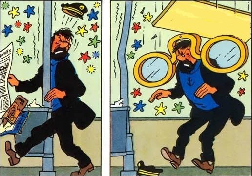 Dans la série « plaies & bosses » du capitaine Haddock, celle-ci est mémorable. Il vous suffit cette fois-ci de retrouver l'accroche décrochée !