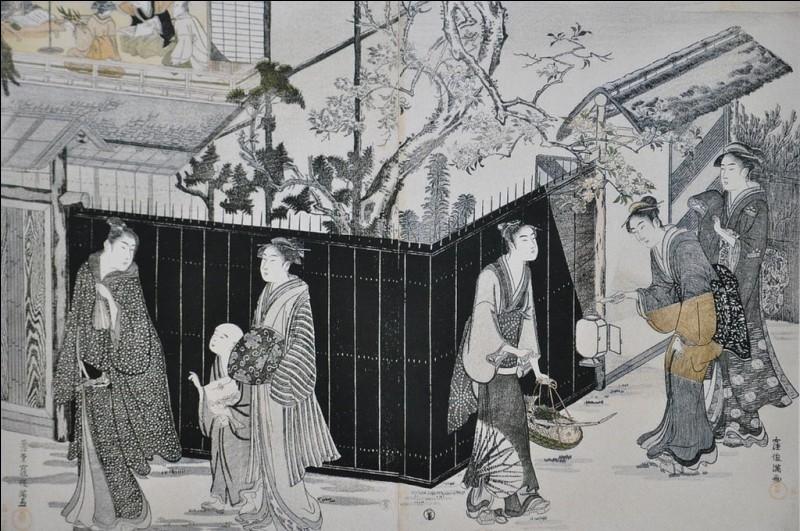 Du titre de cette estampe (ou « Ukiyo-e ») de 1787 ne subsiste qu'un seul mot : « ...nocturne... » Complétez et donnez la traduction littérale du mot entre parenthèses !