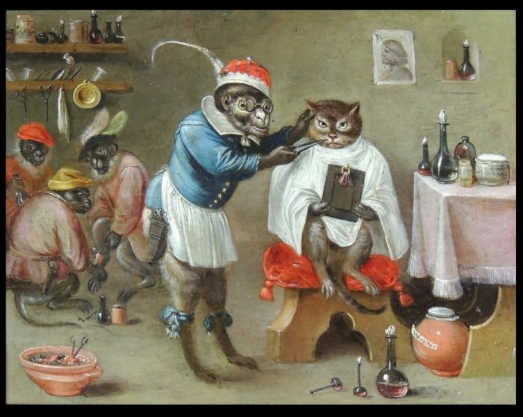 Huile sur cuivre d'un descendant de Bruegel l'Ancien, Ferdinand van Kessel (1648-1696), titrée « ... singe ... ». Pouvez-vous compléter, svp ?