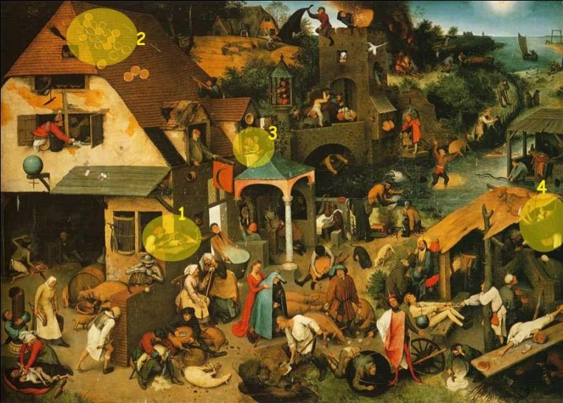 À propos du tableau de Bruegel ci-dessus (1559), en plus des 4 proposées, combien de sentences populaires sont-elles figurées ?