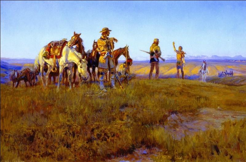 Une bonne bouffée d'air pur avec ce tableau de C.-M. Russell (1914), intitulé « ... de l'homme sauvage », qui s'est mêlé aux Sangs, amérindiens du groupe « ... ». Complétez !