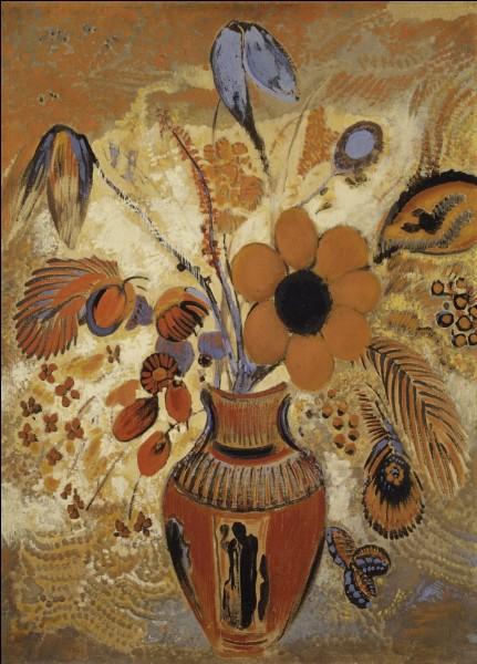 Jean-Bertrand Redon s'attaque aux fusains dès l'âge de 6 ans. Plus tard, il changera son prénom [ Pour lequel ? ] et peindra notamment l'œuvre ci-dessus « Vase ... avec des fleurs ». [Complétez ce titre]