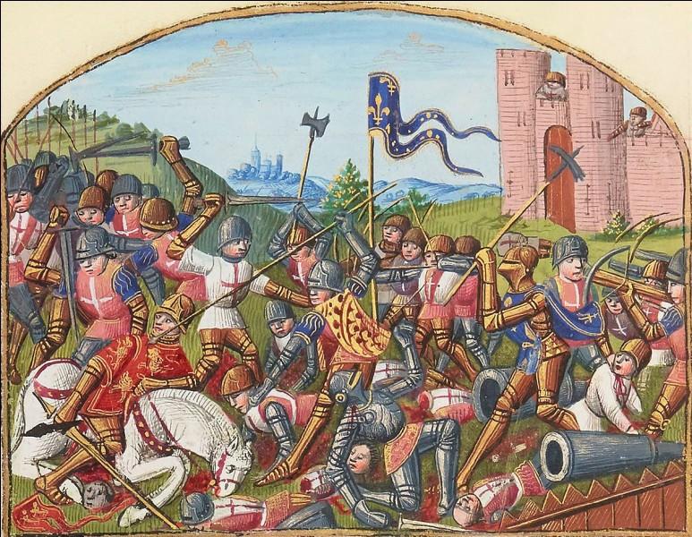 Pendant que Jeanne portait les armes, Charles en a profité pour mettre fin à la querelle qui séparait Armagnacs et Bourguignons. La guerre civile prend fin et on peut se tourner contre les Anglais. Toutes les possessions anglaises sont reprises sauf Calais. Quelle bataille marque la fin de la guerre de 100 ans ?