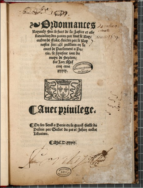 En 1539, François signe l'ordonnance de Villers-Cotterêts. Quel en est le contenu ?