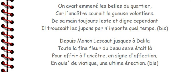 Chanson (2) > Avant d'aller prendre notre tisane, penchons-nous sur le titre de cette pépite de Brassens, qui était ... (Complétez !)