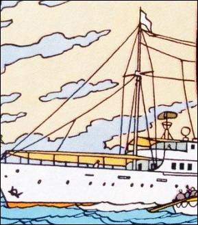 Comment s'appelle le bateau dans lequel navigue Rastapopoulos ?