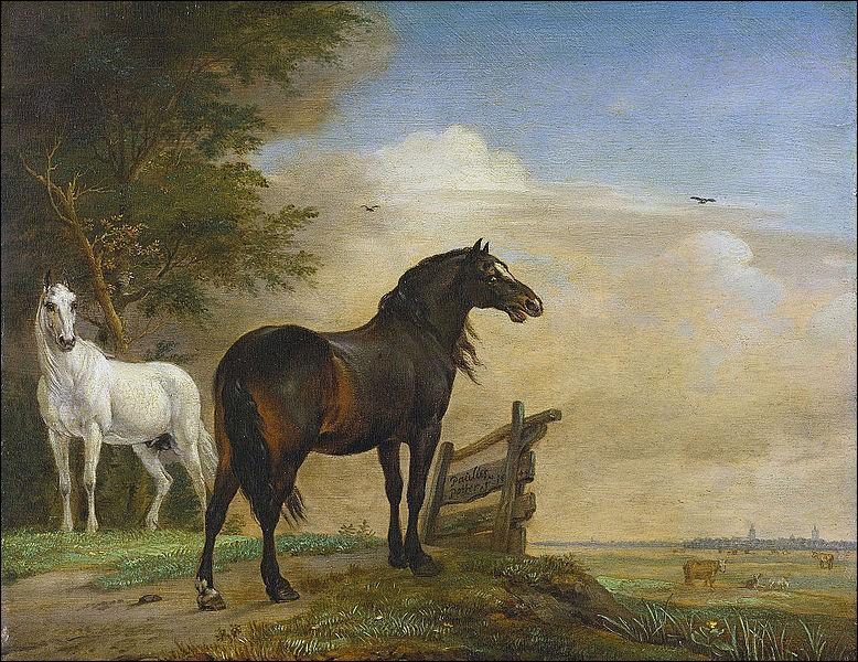"""""""Deux chevaux dans les pâturages avec une clôture"""" est le nom donné à ce tableau du siècle d'or hollandais. Qui l'a réalisé ?"""