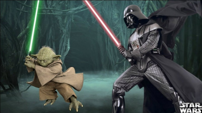 Dark Vador affronte Maître Yoda dans l'épisode 5.