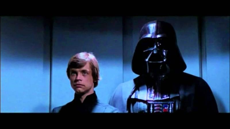 Dark Vador annonce à Luke qu'il est son père sur la Première Étoile de la mort.