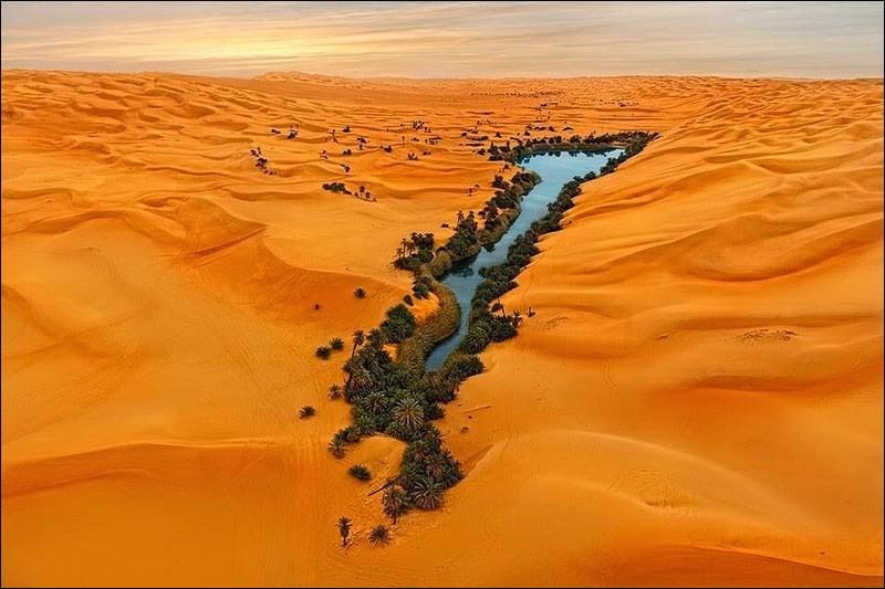 Ce nom signifie ''Mère de l'eau'' : il s'agit d'un lac étroit, assez spécial. Il est tout en longueur et bordé de palmiers. Étonnant de trouver un telle beauté complètement entourée de hautes dunes de sable.Trouvez le nom de ce lac de Libye qui est le plus petit lac du Sahara ?