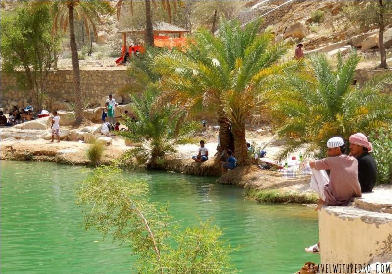 Ce bassin naturel est formé dans une étroite vallée d'altitude (600 m). On se baigne dans cette eau turquoise et chaude, dans ce paysage de désert montagneux. Voyez cette large piscine émeraude dans cette gorge d'énormes rochers blancs.Quel nom porte ce paradis du désert, l'un des oueds les plus connus du sultanat, qui est vert à longueur d'année et très fréquenté les week-end ?