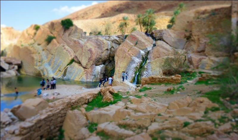 ''Porte d'entrée'' du Sahara, son nom signifie ''Cité du bonheur'', c'est l'oasis la plus proche d'Alger (241 km). La photo montre une série de petites cascades en amont de l'oued. La montagne Kerdada lui donne l'allure d'une forteresse : c'est une étape ancienne des caravanes et une halte pour nomades, une ville historique .Comment appelle-t-on ce lieu qui dès 1930 était déjà très touristique ?