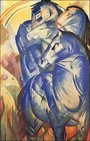 Autre peinture disparue durant la Seconde Guerre mondiale, ''La Tour des chevaux bleus'' datant de 1913. Tableau spolié au musée Alte Nationalgalerie, il faisait partie de l'exposition ''Art dégénéré'', avant de tomber dans les mains de Hermann Göring qui avait saisi cette huile pour sa collection personnelle. Quel expressionniste est l'auteur de cette toile ?