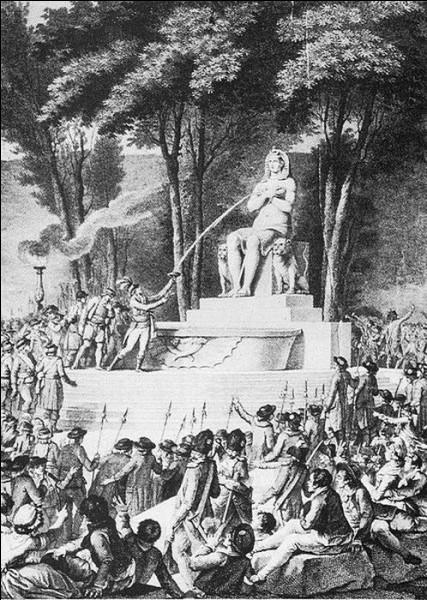 """Cette """"superbe"""" statue de style vaguement égypsein... pardon ! égyptien, fut érigée en 1793 place de la Bastille. Que jaillissait-il de ses seins absolument fantasmatiques ?"""