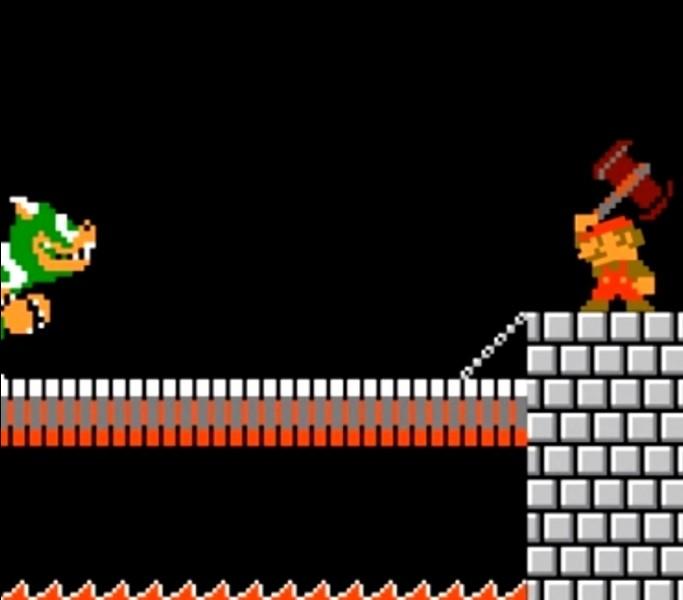 Dans quel jeu de Mario Bros devons-nous utiliser une hache pour briser le pont et battre Bowser ?