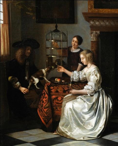 """Qui a réalisé la toile intitulée """"Femme nourrissant son perroquet"""" ?"""