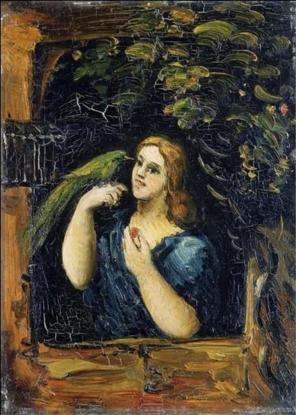 """Surprenante toile que cette """"Femme avec perroquet"""" de :"""