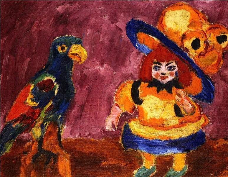 """Toile très colorée représentant """"Poupée avec un perroquet"""", par l'artiste :"""
