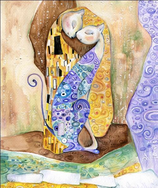 """À quel grand peintre vous fait penser cette œuvre réalisée par une peintre bulgare """"Veselka Velinova"""" qui s'est lancé ce pari fou, d'insérer un chat dans des œuvres de certains grands artistes peintres ?"""
