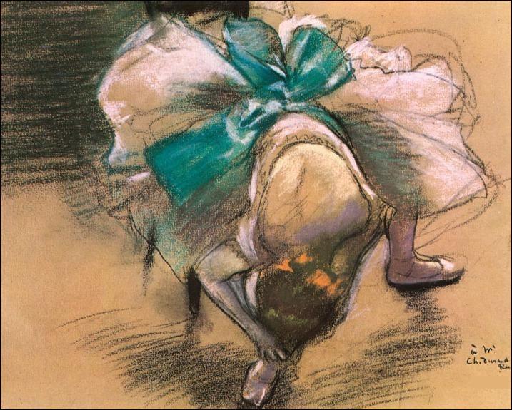 Qui a représenté cette danseuse rattachant ses rubans ?